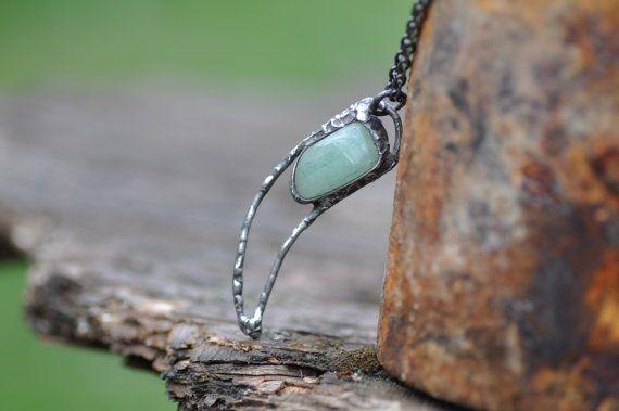AVENTURINE stone necklace soldered moon horn aventurine by zolanna