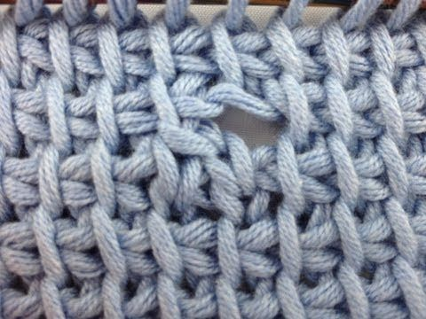 How to make a button hole in tunisian crochet.