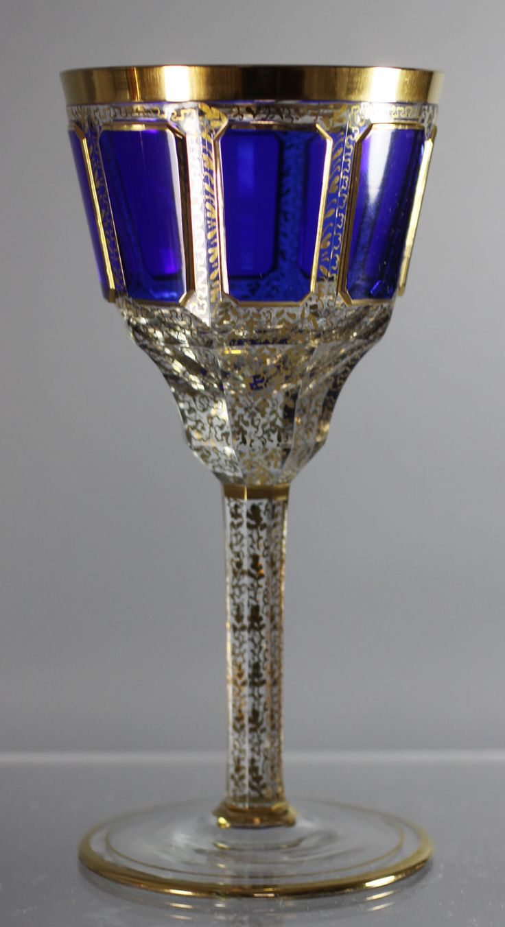Antiques Moser Hand Blown Gilded Sapphire Blue Wine glass