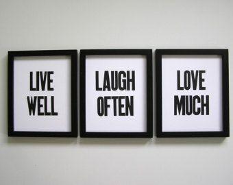 Vivir bien, reír a menudo, encantan, impresiones de tipografía Simple blanco y negro, juego de 3