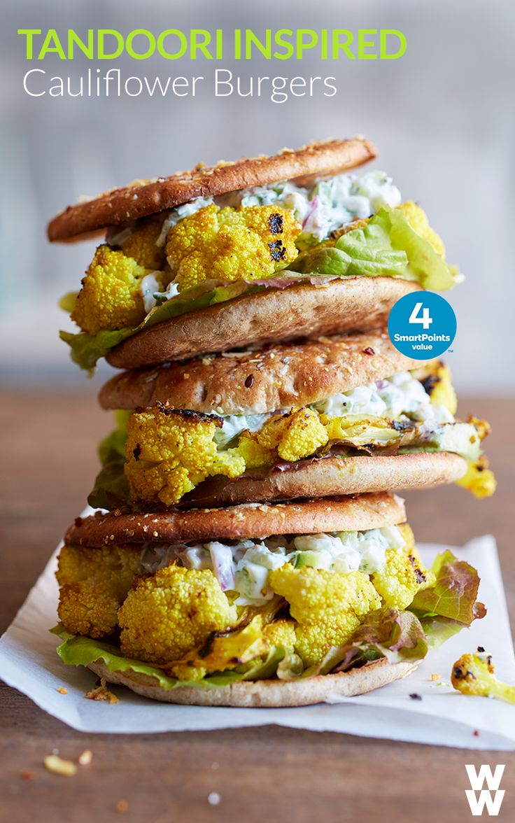 Tandoori Grilled Cauliflower Burgers : 4 SmartPoints value | We're swooning over this fun, fresh burger idea. #FreshFoodsFeb