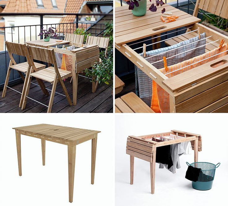 8 Surprising Pieces Of Furniture That Transform Into Something Else // This outdoor table turns into a clothes drying rack.