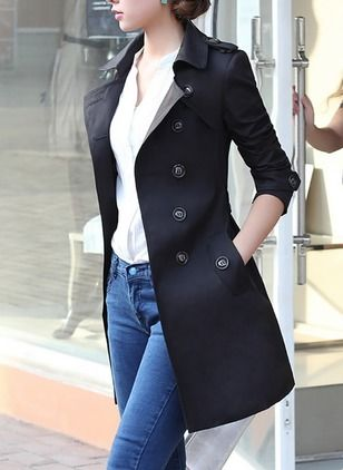 Cotton & Cotton Blend Black Khaki Long Long Sleeve Lapel Coats & Jackets (1025872) @ floryday.com