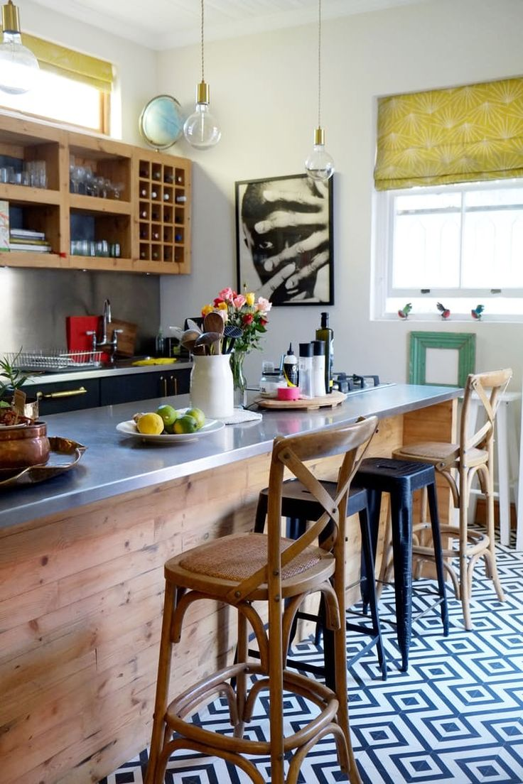 The slim proportions of this island nonetheless allow it to seat at least four diners, with room left over for a stove, utensils, and essential ingredients.  Kitchen Island Breakfast Bar Ideas & Inspiration | Apartment Therapy