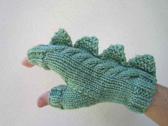 Drago dinosauro mostro verde guanti senza dita guanti di HotScones