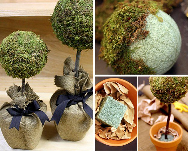 DIY Topiarys with Blurap inspird by Pottery Barn Craft Ideas | Homemade Topiaries | 34 Pottery Barn Hacks For Design On A Budget by DIY Ready at http://diyready.com/diy-projects-pottery-barn-hacks