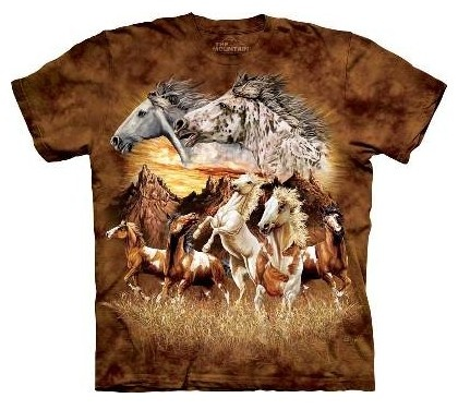 £21.99 Find 15 Horses T-Shirt by The Mountain. Can you find 13 Horses hidden within this t-shirt. The Mountain have made some of their t-shirts more exciting by printing hidden images onto them. The Mountain T Shirts are 100% cotton Tees printed with environmentally friendly water based inks. Images can be ironed over without any problems.