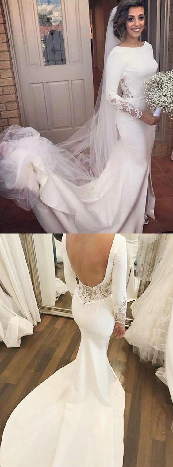 Mermaid Bateau Backless Long Sleeves Court Train Wedding Dress with Lace #backlessweddingdress