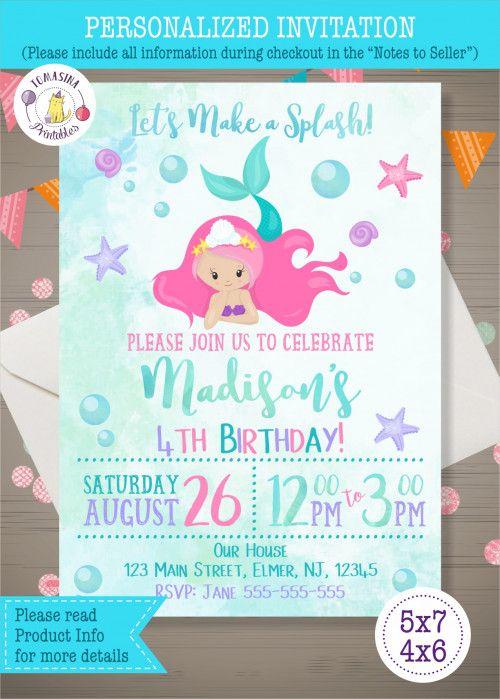 Mermaid Birthday Invitation Personalized DIGITAL ONLY