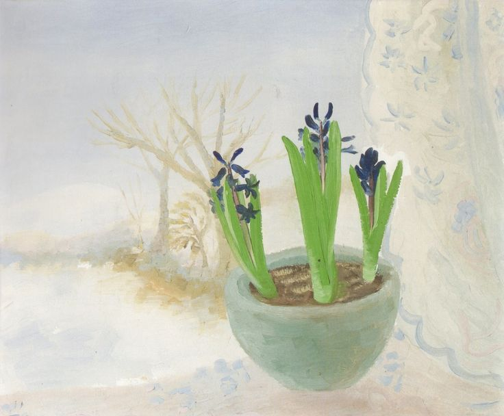 It's About Time-Blue Hyacinths in A Winter Landscape. Winifred Nicholson
