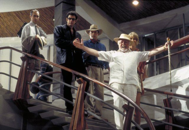 Still of Jeff Goldblum, Richard Attenborough, Laura Dern, Sam Neill and Martin Ferrero in Jurassic Park (1993)