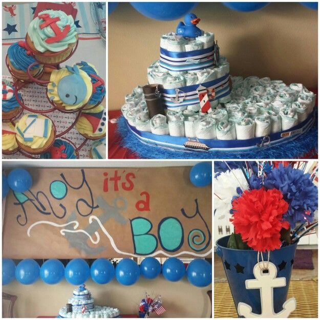 Ahoy It S A Boy Baby Shower Theme Nautical Red White