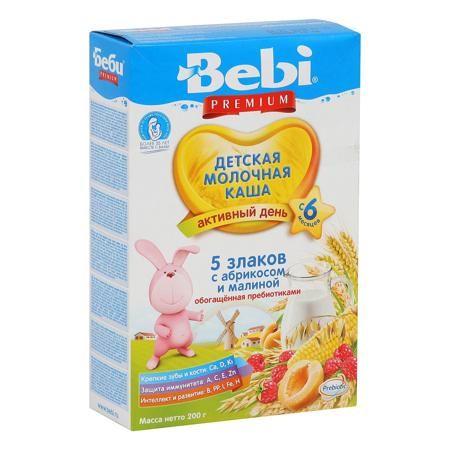 Bebi Каша Премиум 5 злаков с абрикосом и малиной молочная, с 6 мес.  — 177р.  Многозерновая молочная каша из 5 злаков – полезное сочетание пшеничной, кукурузной, овсяной, ячменной и ржаной круп на основе молока является вкусным дополнением в меню ребенка после 6 месяцев. Состав продукта позволяет разнообразить рацион малыша новым интересным блюдом и познакомить его с новыми вкусами. Наряду с традиционными в составе продукта используются ячменная и ржаная крупы – полезные новинки в питании…