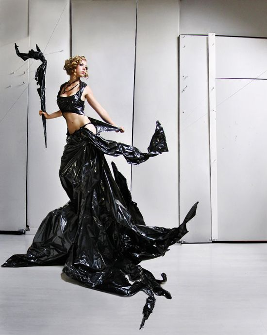 Stylish dress created from plastic garbage bags by artist Jutta Leger.