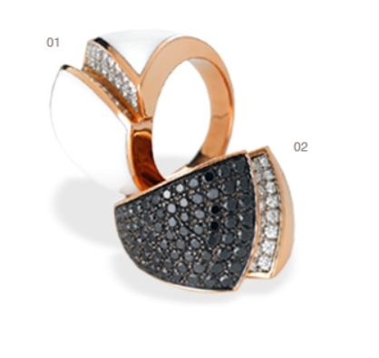 Chimento-Desiderio-web-mar 2013,01  Rose gold ring, white agate and white/black diamonds,02 Rose gold nring with white and black diamonds