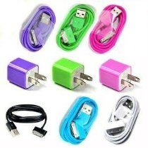 Pink, Purple, Green Wall Ac Charger Plus + 6color USB 2.0 Sync/data Charging Charger 3ft/1m Cable Cord (Oem) Iphone4 4g 4s 3gs Ipod (Blue/black/green/ Pink/purple/white)