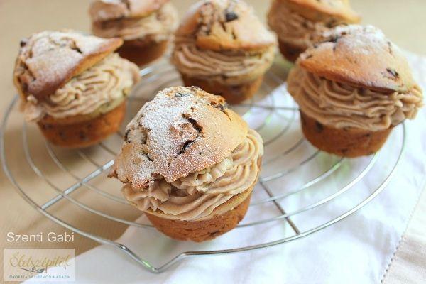 Duplán gesztenyés muffin csokidarabokkal