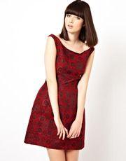 ASOS - Vestito stile Bardot in jacquard con gonna a tulipano