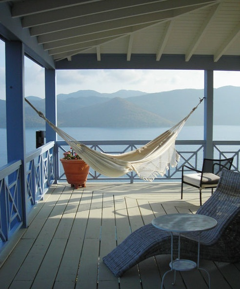 deck hammock, but indoors would be better, since life is cool and breezy here.