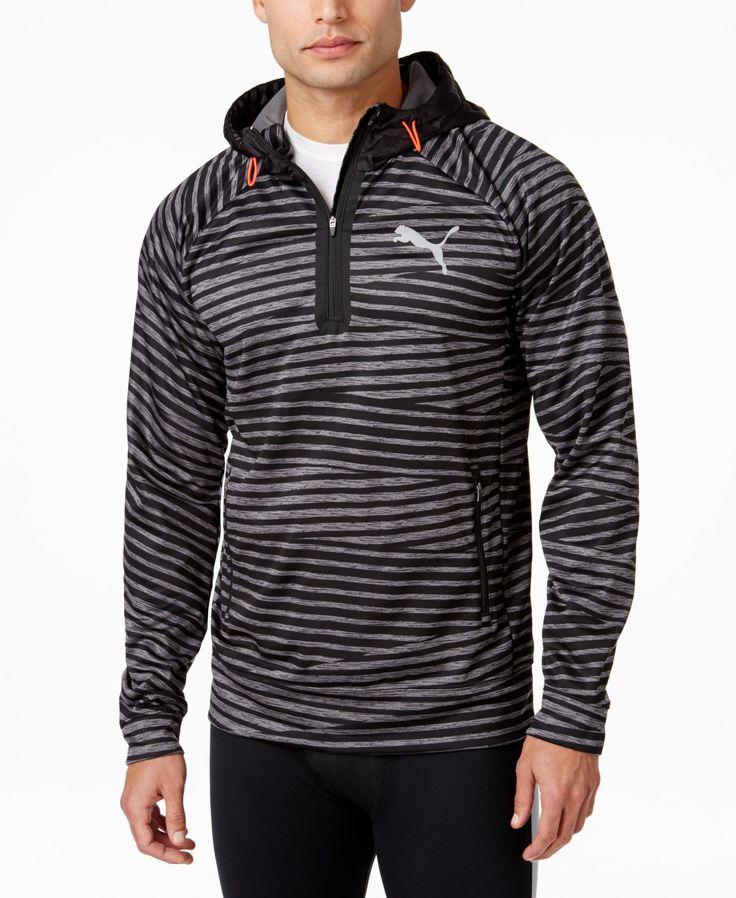 Puma Men's Striped Half-Zip Hoodie