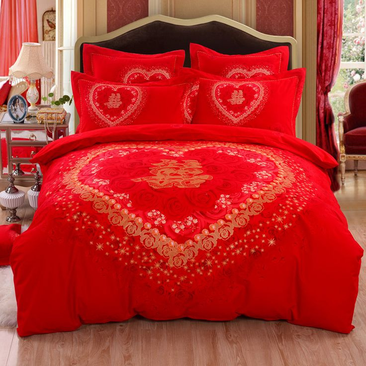 find more information about bedding 100 cotton sanded wedding four piece set red bed sheet