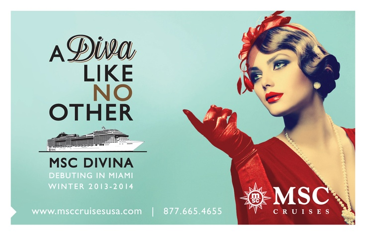 #MSCDivina - The newest ship on our fleet, sailing from #PortMiami winter 2013-2014.