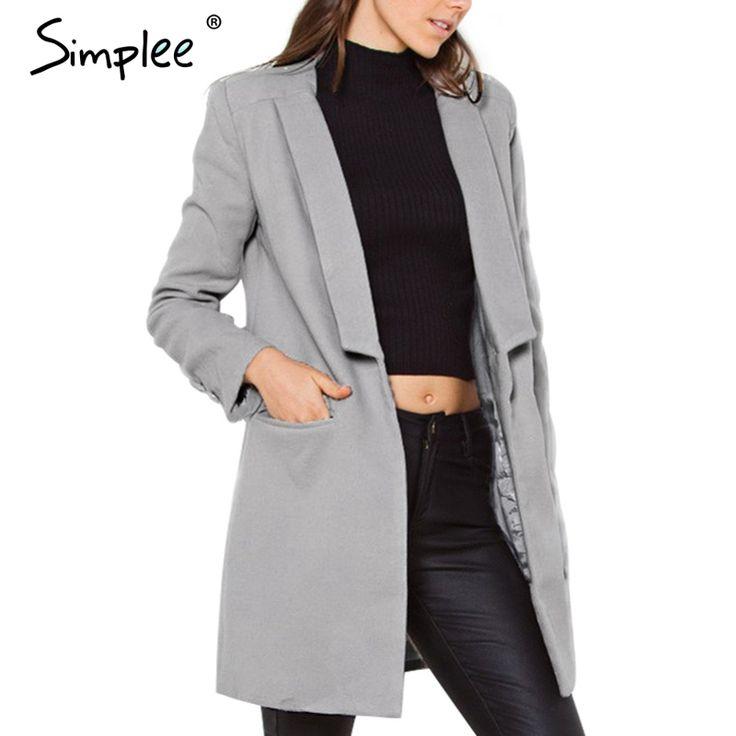 US $24.99 -- Simplee Wool blend warm women coat Casual pockets Long sleeve overcoat Christmas elegant streetwear button outwear & coats aliexpress.com