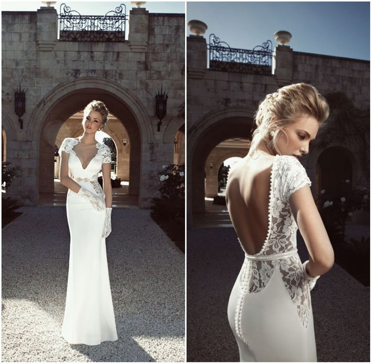 short sleeve lace open back wedding dress