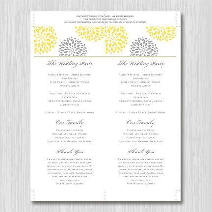 printable wedding program template floral petals yellow gray order of service tea length. Black Bedroom Furniture Sets. Home Design Ideas