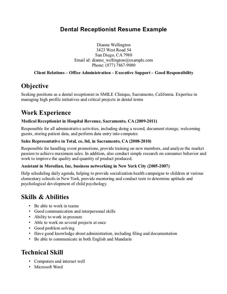 490 best WORK images on Pinterest Gym, Interview and Productivity - dental receptionist sample resume