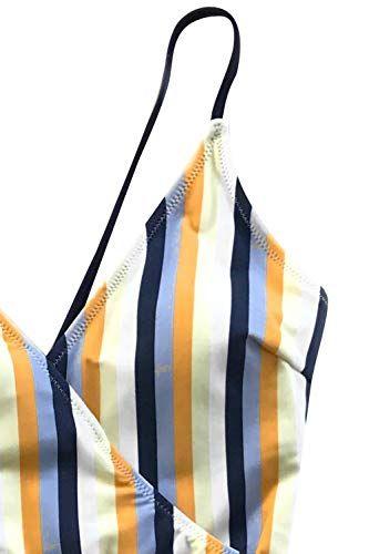 51c10f8c25e CUPSHE Women's Blue and Yellow Stripe High Leg Cut One-Piece Swimsuit,# Yellow, #Stripe, #Blue, #CUPSHE