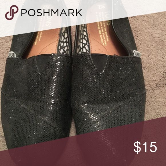 Black glitter Toms Good worn condition Toms Shoes