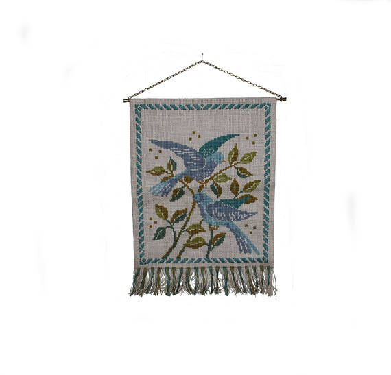 Sweet vintage handembroidered Wall hanging Tapestry with
