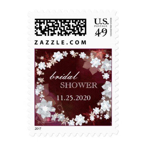 Winter Floral Wreath Bling Bridal Shower Postage