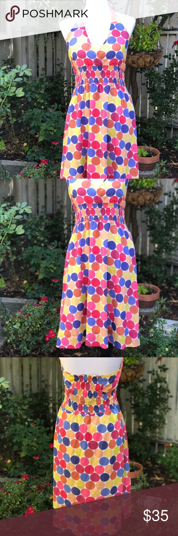 """Maeve large multi polka dot halter dress Anthropologie Maeve large polka dot w/multi colors. This is a fun easy weekender dress! Light gauze cotton material (shell/lining). They elastic rouched waist makes this dress very forgiving if you are a size or two larger up top. Little difficult to measure bust because there's no back. I'm a 36C and it fit fine. The waist is 15"""", flat, length 32"""" (from top of back). Mannequin measures 34x26x35. Measurements approx. Anthropologie Dresses"""