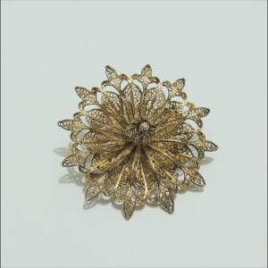 Antika Altın Vermeyli Gümüş Telkari  Broş İğne