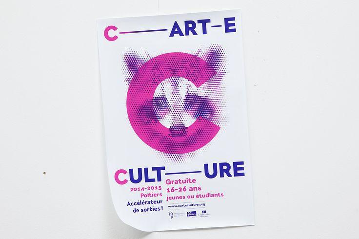 la Carte Culture est proposée: TAP – Théâtre Auditorium de Poitiers, Le Confort Moderne, Conservatoire à Rayonnement Régional, Espace Mendès France, Le Dietrich et la Maison des Étudiants à Poitiers. #graphisme #typographie #affiche #culture