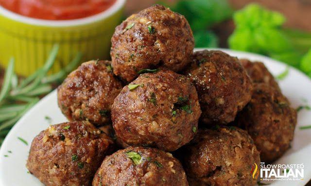 http://www.theslowroasteditalian.com/2013/09/italian-herb-baked-meatballs-recipe.html