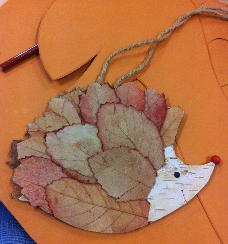 Riccio con foglie autunnali