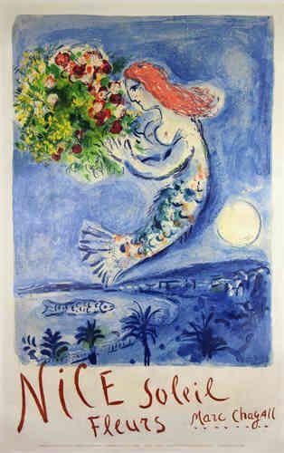 Affiche Chagall Marc  La Baie des Anges  Nice Soleil Fleurs  1961