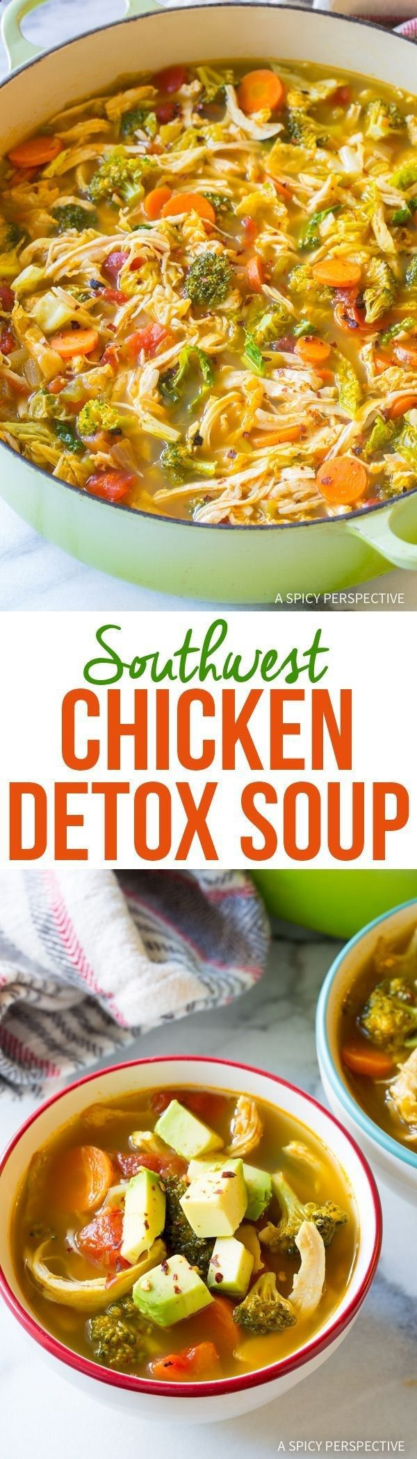 Southwest Chicken Detox Soup Recipe - A fabulous healthy low-fat, low-carb, gluten-free soup, with tons of flavor! This cleansing soup packs a punch. skinny detox soup