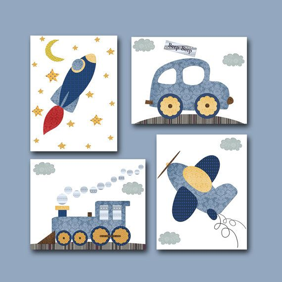 Car Rocket Plane Train Baby Boy Nursery decor Children Art Print Baby Nursery Print Nursery Print set of 4 8x10 blue gray yellow