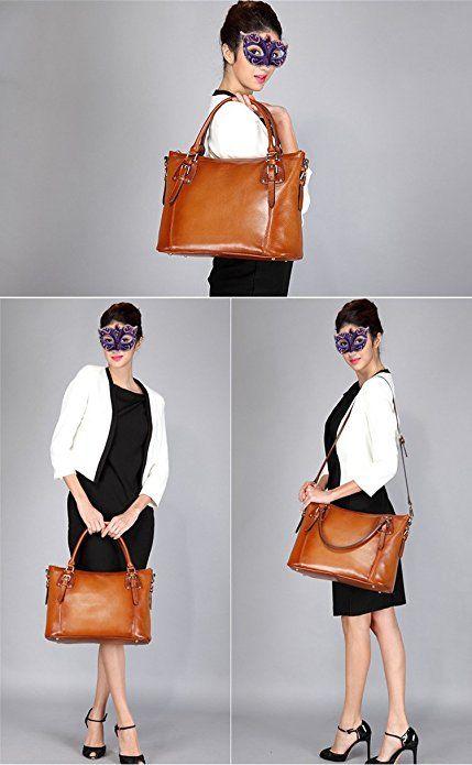 252c4c8761e9 BIG SALE-AINIMOER Women s Large Leather Vintage Shoulder Bags Handbags  Ladies Top handle Purse Cross Body Bag  Handbags  Amazon.com
