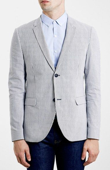 Topman Skinny Fit Seersucker Blazer
