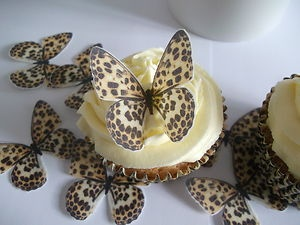 24 Butterflies Leopard Print Fab Cupcake Fairy Cake Toppers Edible Rice Paper | eBay