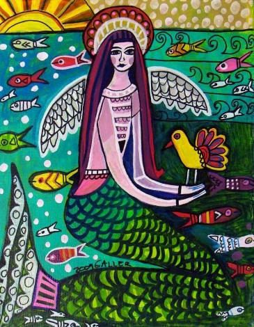 50% off - Mermaid Angel Fairy Art Art Poster Print of painting by Heather Galler Painting fish