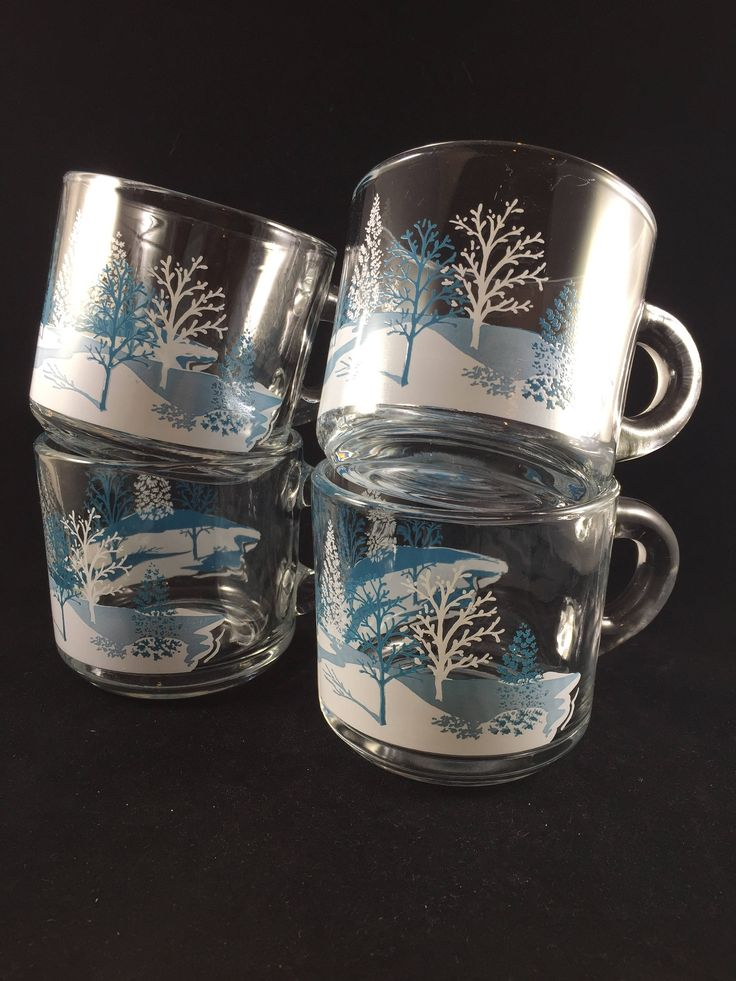 Anchor Hocking Glass Mugs White and Blue Winter Wonderland Scene with Trees - Set of 4 - Vintage Anchor Hocking Glassware - Winter Dishes by MidwestThriftGal on Etsy
