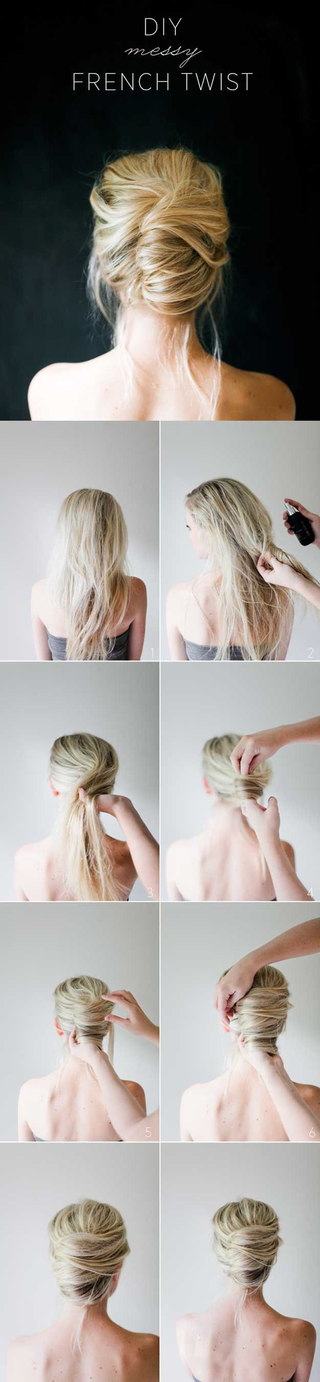 Best 5 Minute Hairstyles - Messy French Twist Tutorial - Quick And Easy Hairstyles and Haircuts For Long Hair, That Are Super Simple and Great For Busy Mornings Or For School. Braids, Undo's, Ponytail Looks And Hair Styles For Short Hair, Medium Length Ha (knot bun medium lengths)