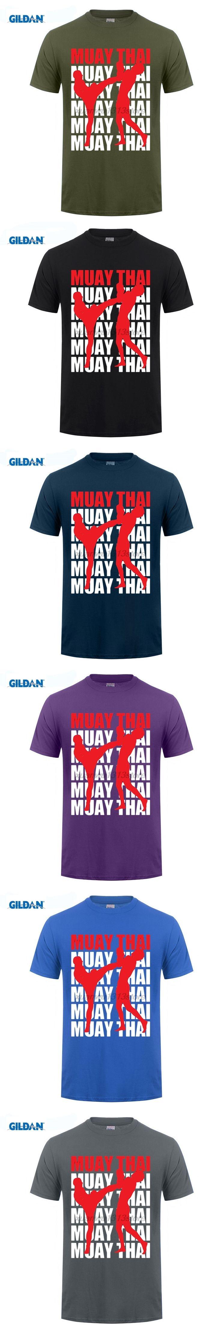 GILDAN Retro T Shirts Muay Thai Boxinger Letter Art Men Crew Neck Short Sleeve Tees Shirt Printed Youth Crazy T-Shirts