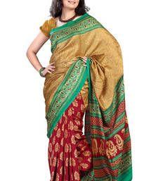 Buy Fabdeal Gold & Red Pashmina Printed Saree printed-saree online